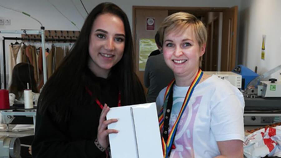 Barnsley College tutorial team leader Kat Jackson with luxury raffle winner Anais Wood.
