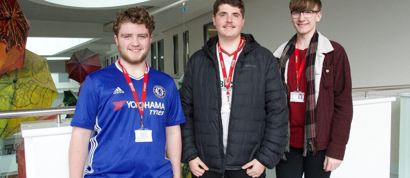Creative Media Production students Matty Hugill, Kyle Walker and Karl Wellbelove