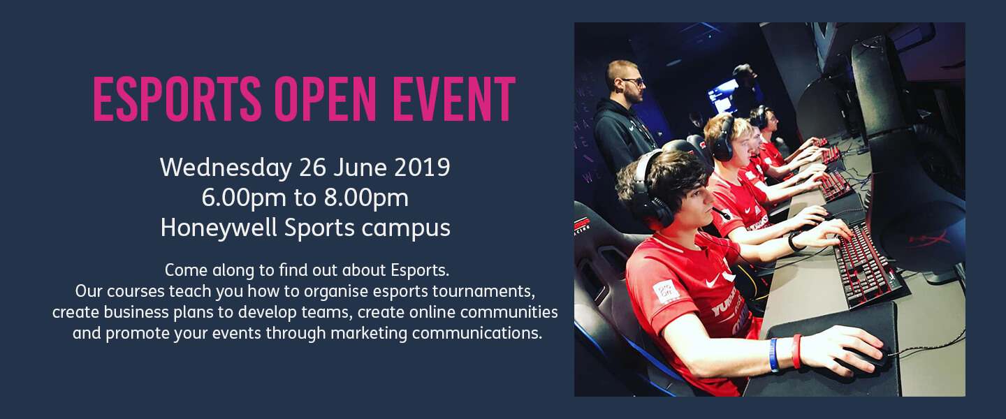 Esport Open Event is on Wednesday 26 June at 6pm. This image links to the event page with more details.