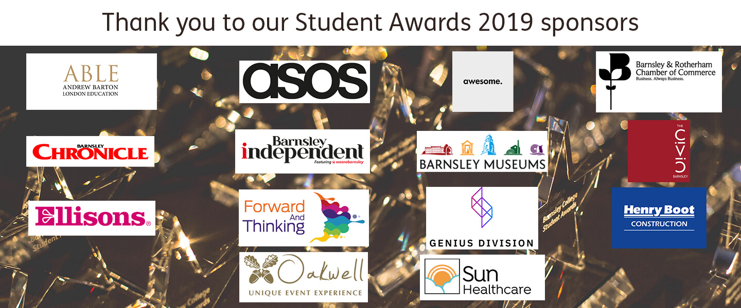 Logos of the sponsors of Student Awards 2019